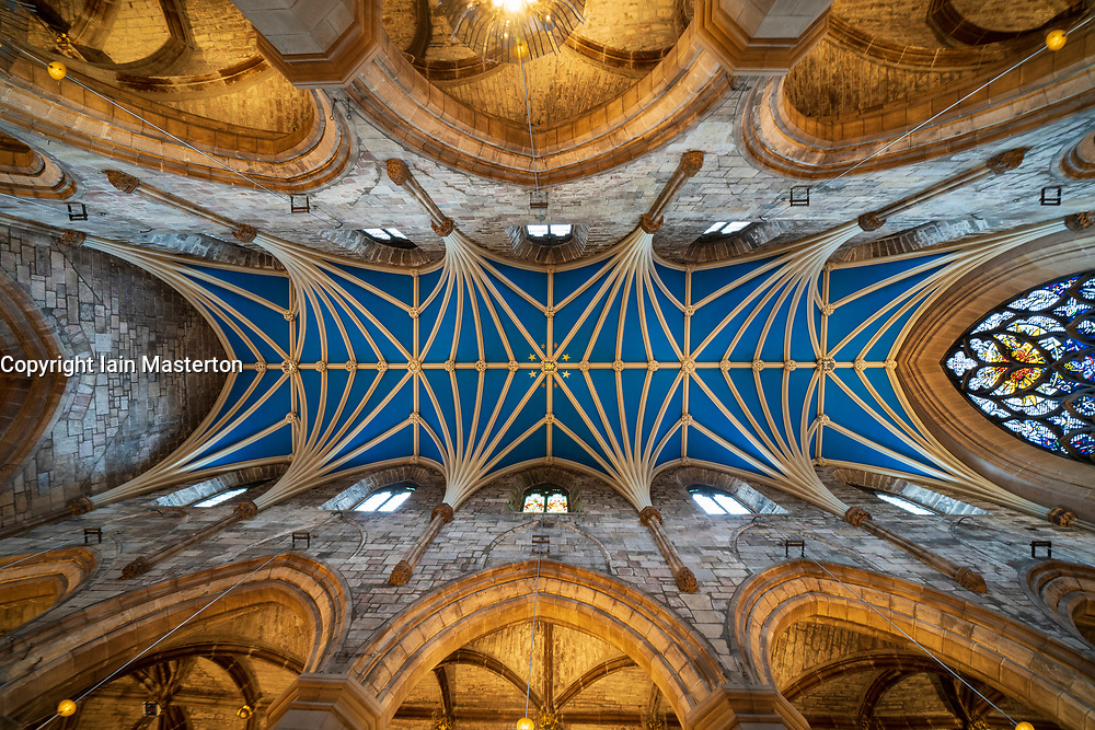 View of ornate roof ceiling of St Giles Cathedral in Edinburgh Old Town, Scotland, UK