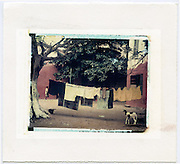 Courtyard of a home with laundry on the line and goat foraging. <br /> Image size 4x5, Matted 12x10  Edition of 25 Archival Pigment Print