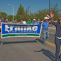 Montana Democratic Congressional candidate Franke Wilmer marches in the Butte 4th of July parade.