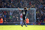 Watford defender Nathan Ake (16) celebrating goal during the The FA Cup Quarter Final match between Arsenal and Watford at the Emirates Stadium, London, England on 13 March 2016. Photo by Matthew Redman.