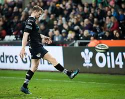 Ospreys' Dan Biggar kicks to the corner<br /> <br /> Photographer Simon King/Replay Images<br /> <br /> Guinness PRO14 Round 19 - Ospreys v Connacht - Friday 6th April 2018 - Liberty Stadium - Swansea<br /> <br /> World Copyright © Replay Images . All rights reserved. info@replayimages.co.uk - http://replayimages.co.uk