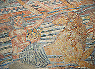 The Voyage of Venus, a Roman mosaic from Volubilis. Museum of Moroccan Arts and Antiquities, Morocco. .<br /> <br /> If you prefer to buy from our ALAMY PHOTO LIBRARY  Collection visit : https://www.alamy.com/portfolio/paul-williams-funkystock/roman-mosaic.html - Type -   Volubilis    - into the LOWER SEARCH WITHIN GALLERY box. Refine search by adding background colour, place, museum etc<br /> <br /> Visit our ROMAN MOSAIC PHOTO COLLECTIONS for more photos to download  as wall art prints https://funkystock.photoshelter.com/gallery-collection/Roman-Mosaics-Art-Pictures-Images/C0000LcfNel7FpLI