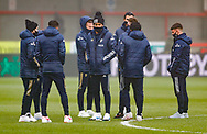 Leeds United players including Leeds United forward Helder Costa (17)  arrives at the ground  during the The FA Cup match between Crawley Town and Leeds United at The People's Pension Stadium, Crawley, England on 10 January 2021.