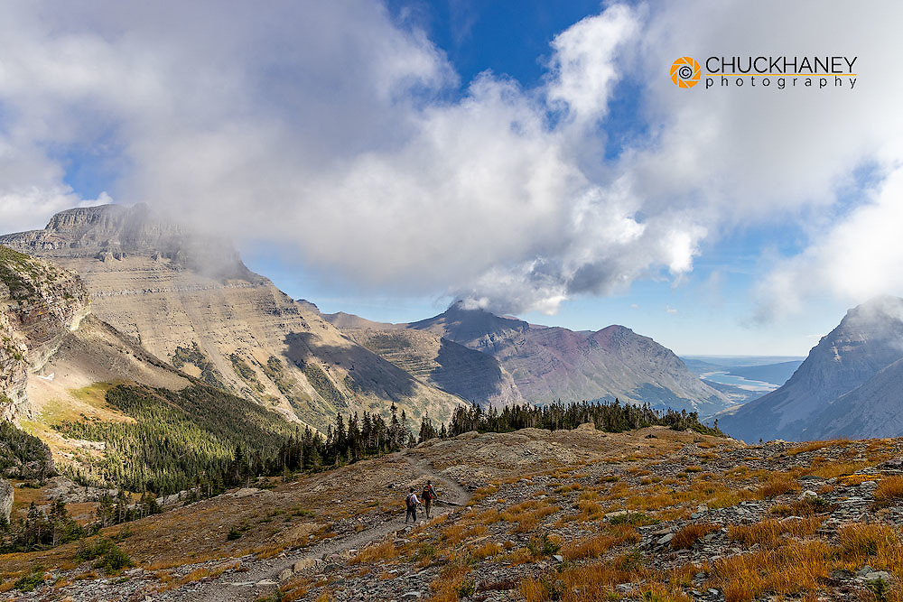 Hiking below Swiftcurrent Mountain in Glacier National Park, Montana, USA