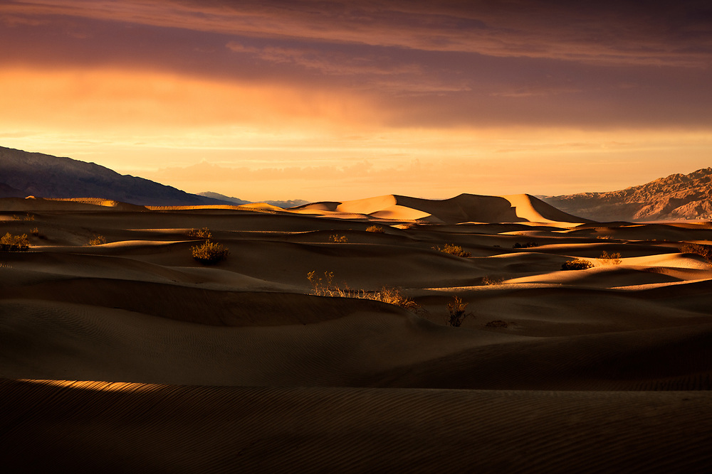 Mesquite Sand Dunes at Sunset in Death Valley National Park in California. ©justinalexanderbartels.com
