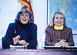 First lady Hillary Rodham Clinton meets with the bipartisan Congressional Caucus for Women's Issues on Capitol Hill in Washington, D.C, USA, on Tuesday, February 23, 1993. At left is U.S. Representative Pat Schroeder (Democrat of Colorado), Co-Chair of the Caucus. The meeting was to discuss women's issues. Photo by Jeff Markowitz/Pool/CNP/ABACAPRESS.COM