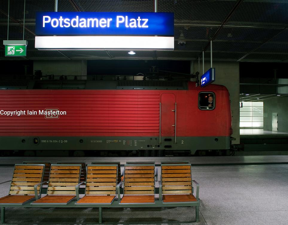 Express train at platform at Potsdamer Platz railway station Berlin 2009
