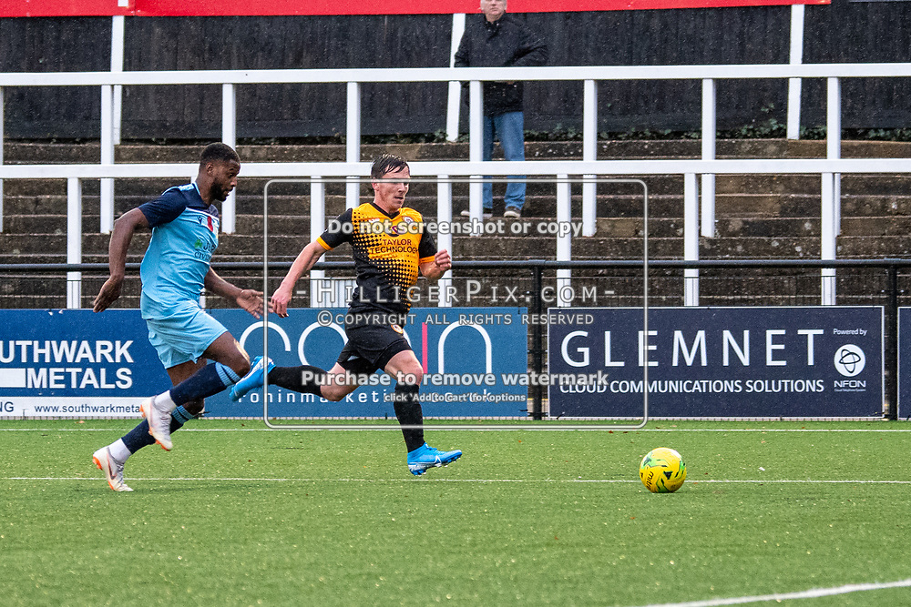 BROMLEY, UK - NOVEMBER 09: Tom Carlse, of Cray Wanderers FC, bursts down the wing during the BetVictor Isthmian Premier League match between Cray Wanderers and Cheshunt at Hayes Lane on November 9, 2019 in Bromley, UK. <br /> (Photo: Jon Hilliger)