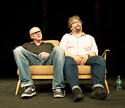 What Happens to the Hope at the end of the Evening<br /> by Tim Crouch and Andy Smith <br /> press photocall <br /> at The Almeida Theatre <br /> opening the Almeida Festival  <br /> 10th July 2013 <br /> <br /> Tim Crouch <br /> Andy Smith <br /> <br /> <br /> Photograph by Elliott Franks