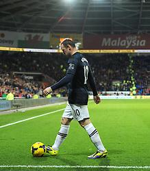 Man Utd Forward Wayne Rooney (ENG) cuts a dejected figure - Photo mandatory by-line: Joseph Meredith/JMP - Tel: Mobile: 07966 386802 - 24/11/2013 - SPORT - FOOTBALL - Cardiff City Stadium - Cardiff City v Manchester United - Barclays Premier League.