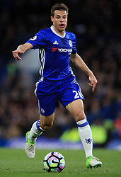 """Chelsea's Cesar Azpilicueta during the Premier League match at Stamford Bridge, London. PRESS ASSOCIATION Photo. Picture date: Monday May 8, 2017. See PA story SOCCER Chelsea. Photo credit should read: Mike Egerton/PA Wire. RESTRICTIONS: EDITORIAL USE ONLY No use with unauthorised audio, video, data, fixture lists, club/league logos or """"live"""" services. Online in-match use limited to 75 images, no video emulation. No use in betting, games or single club/league/player publications."""