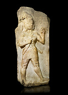 Relief of God of War. Limestone, Kings Gate, Hattusa ( Bogazkoy ). 14th - 13th Century BC. Anatolian Civilisations Museum, Ankara, Turkey.<br /> <br /> The warrior depicted in high relief is dressed in a decorated skirt. The relief takes place on the interior part of the King's gate facing city, to the east of the city walls. He carries a crescent-handled short sword in his belt. The relief is identified as god depiction since the horns on the headdress are the indication of a god.  <br /> <br /> Against a black background.<br /> If you prefer to buy from our ALAMY STOCK LIBRARY page at https://www.alamy.com/portfolio/paul-williams-funkystock/hittite-art-antiquities.html  - Type Kings Gate into the LOWER SEARCH WITHIN GALLERY box. Refine search by adding background colour, place, museum etc<br /> <br /> Visit our HITTITE PHOTO COLLECTIONS for more photos to download or buy as wall art prints https://funkystock.photoshelter.com/gallery-collection/The-Hittites-Art-Artefacts-Antiquities-Historic-Sites-Pictures-Images-of/C0000NUBSMhSc3Oo
