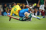 Gabriel Jesus of Brazil is tackled by Carlos Salcedo of Mexico during the 2018 FIFA World Cup Russia, round of 16 football match between Brazil and Mexico on July 2, 2018 at Samara Arena in Samara, Russia - Photo Thiago Bernardes / FramePhoto / ProSportsImages / DPPI