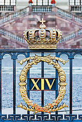 Golden crown on Royal Palace gate, Gamla Stan, Stockholm, Sweden