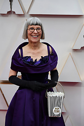 February 9, 2020, Los Angeles, California, USA: British makeup artist LOIS BURWELL carries a popcorn purse during red carpet arrivals for the 92nd Academy Awards, presented by the Academy of Motion Picture Arts and Sciences (AMPAS), at the Dolby Theatre in Hollywood. (Credit Image: © Kevin Sullivan via ZUMA Wire)