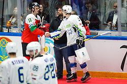 Bence Stipsicz of Hungary and Jan Drozg of Slovenia after ice hockey match between Hunngary and Kazakhstan at IIHF World Championship DIV. I Group A Kazakhstan 2019, on May 3, 2019 in Barys Arena, Nur-Sultan, Kazakhstan. Photo by Matic Klansek Velej / Sportida