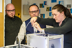 Pictured: Stuart Brown (white shirt) Head of SME Barclays banking, Scotland and Stephen Coleman, CEO and founder of Codebase watch as engineer Sharon Jones, ensures the 3-d printer is operational.<br /> Today Keith Brown MSP opened Scotland's first Barclays Eagle lab in partnership with CodeBase. The resource allows businesses and communities to access new technologies and boost digital skills while supporting job creation in the local economy. <br /> <br /> Ger Harley   EEm 16 January 2018