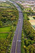 Nederland, Utrecht, Amelisweerd, 09-05-2013; lokatie van (omstreden) verbreding van rijksweg A27. De bak zou verbreed moeten worden aan de zijde van het landgoed (li) en van een geluidswerend dak worden voorzien.<br /> Motorway A27, near Utrecht; there are (controversial) plans to broaden the road.<br /> luchtfoto (toeslag op standard tarieven);<br /> aerial photo (additional fee required);<br /> copyright foto/photo Siebe Swart.