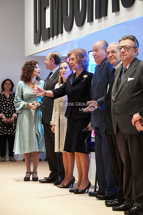King Juan Carlos of Spain, Queen Sofia of Spain attends Opening of the exhibition 'Democracia 1978-2018' at Cosmo Caixa on December 4, 2018 in Madrid, Spain