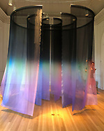 Roslyn, New York, U.S. August 4, 2019. Aurorae, 2019, by Miya Ando (b. 1978), painted fabric, aluminum, 138 x 120 x 120 inches, is suspended from ceiling, and its hand painted panels can be walked through at Energy: The Power of Art Exhibition at the Nassau County Museum of Art, at former Frick estate on Gold Coast of Long Island.