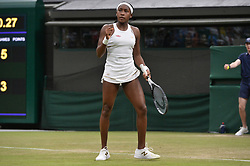 © Licensed to London News Pictures. 03/07/2019. London, UK. Cori Gauff of the United States of America plays Magdalena Rybarikova in the 2nd round of the ladies singles draw of the Wimbledon Tennis Championships 2019 on Day 3 held at the All England Lawn Tennis and Croquet Club. Photo credit: Ray Tang/LNP