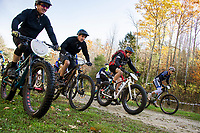 Mike Baron, Christian Bua, Mark Traeger and Josh Flanagan are among the 34 riders taking off in a mass start for the Fall Flurry mountain bike race held at Gunstock on Saturday morning.  (Karen Bobotas/for the Laconia Daily Sun)