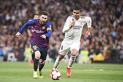 March 2, 2019 - Madrid, Madrid, Spain - Lionel Messi (forward; Barcelona), Casemiro (midfielder; Real Madrid) in action during La Liga match between Real Madrid and FC Barcelona at Santiago Bernabeu Stadium on March 3, 2019 in Madrid, Spain (Credit Image: © Jack Abuin/ZUMA Wire)
