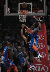 March 8, 2019 - Los Angeles, California, United States of America - Landry Shamet #20 of the Los Angeles Clippers drives past Jerami Grant #9 of the Oklahoma Thunder during their NBA game on Friday March 8, 2019 at the Staples Center in Los Angeles, California. Clippers defeat Thunder, 118-110.  JAVIER ROJAS/PI (Credit Image: © Prensa Internacional via ZUMA Wire)