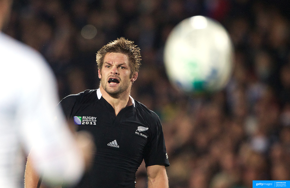 Richie McCaw, New Zealand, playing his 100th test match, in action during the New Zealand V France, Pool A match during the IRB Rugby World Cup tournament. Eden Park, Auckland, New Zealand, 24th September 2011. Photo Tim Clayton...
