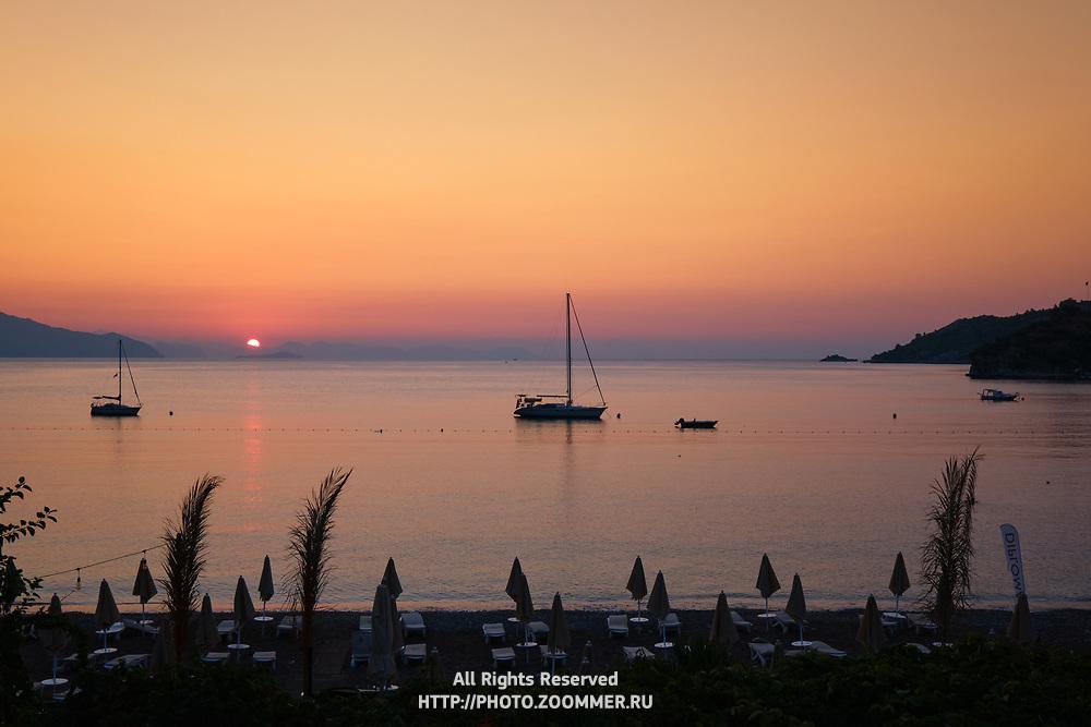 Sunrise in Turunc beach, Marmaris, Turkey