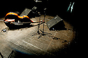 """Ken Filiano's bass lying on the stage floor. """"Jazz ao Centro"""" jazz festival is held twice a year in portuguese town of Coimbra."""