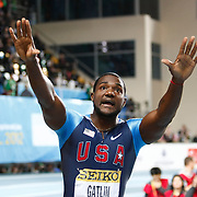 Justin Gatlin of the U.S. reacts during a failed start of another athlete in the Men's 60 metres  during the IAAF World Indoor Championships at the Atakoy Athletics Arena, Istanbul, Turkey. Photo by TURKPIX