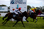 Amberine ridden by Charlie Bennett and trained by Malcolm Saunders and Spirit Of Ishy ridden by Martin Dwyer and trained by Stuart Kittow in the Visitbath.co.uk Classified Stakes - Mandatory by-line: Robbie Stephenson/JMP - 18/07/2020 - HORSE RACING- Bath Racecourse - Bath, England - Bath Races 18/07/20