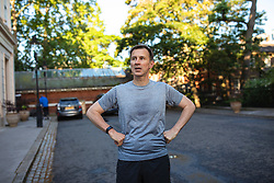 © Licensed to London News Pictures. 20/06/2019. London, UK. Foreign Secretary Jeremy Hunt, who is running to become the Leader of the Conservative Party and next Prime Minister, returns to his London home after a run. The final two candidates will be put to the party membership in a ballot. Photo credit: Rob Pinney/LNP