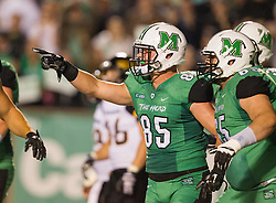 Oct 9, 2015; Huntington, WV, USA; Marshall Thundering Herd tight end Ryan Yurachek (85) celebrates after receiving a touchdown pass from quarterback Chase Litton during the second quarter against the Southern Miss Golden Eagles at Joan C. Edwards Stadium. Mandatory Credit: Ben Queen-USA TODAY Sports
