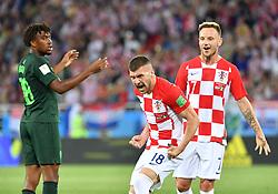 KALININGRAD, June 16, 2018  Ante Rebic (C) of Croatia celebrates after Nigeria's Oghenekaro Etebo scored an own goal during a group D match between Croatia and Nigeria at the 2018 FIFA World Cup in Kaliningrad, Russia, June 16, 2018. (Credit Image: © Liu Dawei/Xinhua via ZUMA Wire)