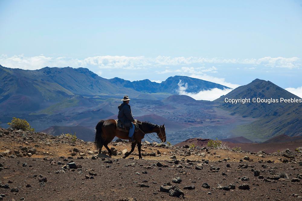 Horseback trail ride, Haleakala National Park, Maui, Hawaii
