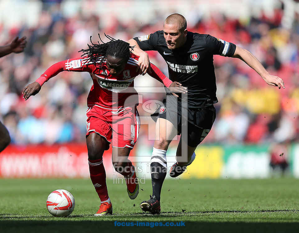 Picture by Paul Gaythorpe/Focus Images Ltd +447771 871632.27/04/2013.Marvin Emnes of Middlesbrough and Michael Morrison of Charlton Athletic during the npower Championship match at the Riverside Stadium, Middlesbrough.