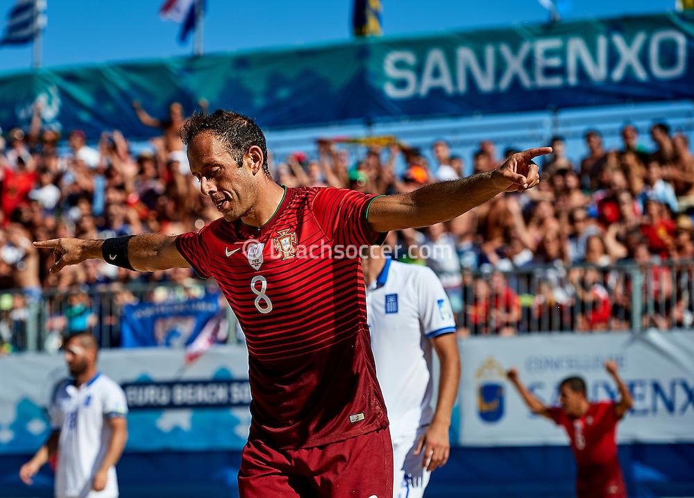 Portugal's Jose Maria celebrates a goal against Greece during the Euro Beach Soccer League 2016 in Sanxenxo. (Photo by Manuel Queimadelos)