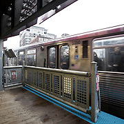 Chicago El Trains - Inside the Chicago Loop at weekday morning rush hour