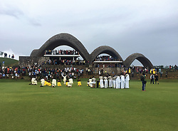 """BEST QUALITY AVAILABLE Dancers and musicians entertain the crowd during the official opening of a new cricket stadium in Kigali, Rwanda, which has been dubbed the """"Lord's of East Africa""""."""
