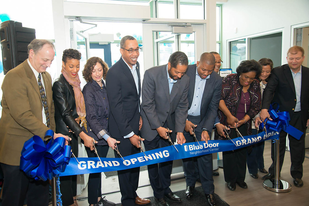 Photography of the Blue Door Neighborhood Centers' Grand Opening event. Located on 756 E. 111th Street, Chicago, IL.   Blue Cross Blue Shield of Illinois.  Digital photography.