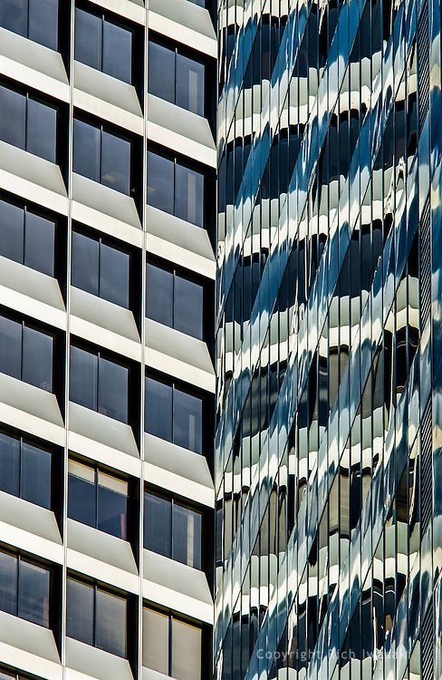 Close-up view of windows and reflections of 425 Market building, San Francisco, California