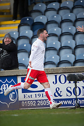 Falkirk's Bob McHugh (19) celebrates after scoring their second goal. <br /> Raith Rovers 2 v 2 Falkirk, Scottish Championship game played 23/4/2016 at Stark's Park.