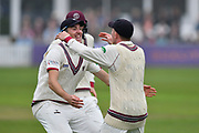 Wicket - Dom Bess of Somerset celebrates running out Middlesex's John Simpson during the Specsavers County Champ Div 1 match between Somerset County Cricket Club and Middlesex County Cricket Club at the Cooper Associates County Ground, Taunton, United Kingdom on 26 September 2017. Photo by Graham Hunt.