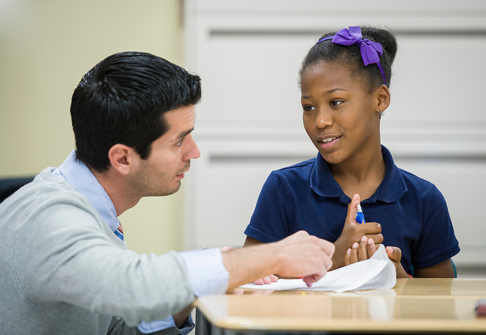 Ernest Bainbridge teaches 4th graders at Walnut Bend Elementary, December 11, 2012, in Houston.