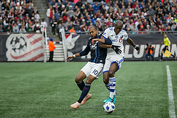 October 28, 2018 - Foxborough, Massachusetts - October 28, 2018:  The New England Revolution (blue/white) beat Montreal Impact (white) 1-0 in a Major League Soccer (MLS) match at Gillette Stadium. (Credit Image: © Tim Bouwer/ISIPhotos via ZUMA Wire)