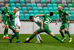Rijad Kobiljar of NK Rudar Velenje vs Mujcic Mirza of NK Olimpija Ljubljana during football match between NK Olimpija Ljubljana and NK Rudar Velenje in 25rd Round of Prva liga Telekom Slovenije 2018/19, on April 7th, 2019 in Stadium Stozice, Slovenia Photo by Matic Ritonja / Sportida