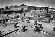 Péronnes, Belgium, 27 mai 2017, Graphical scene at the empty shipyard, Chantier Naval Plaquet along the river Scheldt (out of the series from ongoing project about scheldt and meuse)