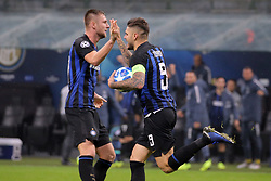 November 6, 2018 - Milan, Milan, Italy - Mauro Icardi #9 of FC Internazionale Milano celebrates with Milan Skriniar #37 of FC Internazionale Milano after scoring the his goal during  the UEFA Champions League group B match between FC Internazionale and FC Barcelona at Stadio Giuseppe Meazza on November 06, 2018 in Milan, Italy. (Credit Image: © Giuseppe Cottini/NurPhoto via ZUMA Press)